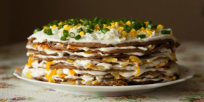 бутербродный торт с рыбными консервами