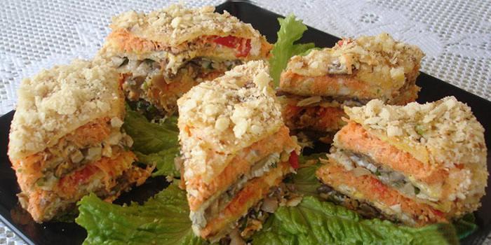 рецепт бутербродного торта с рыбными консервами