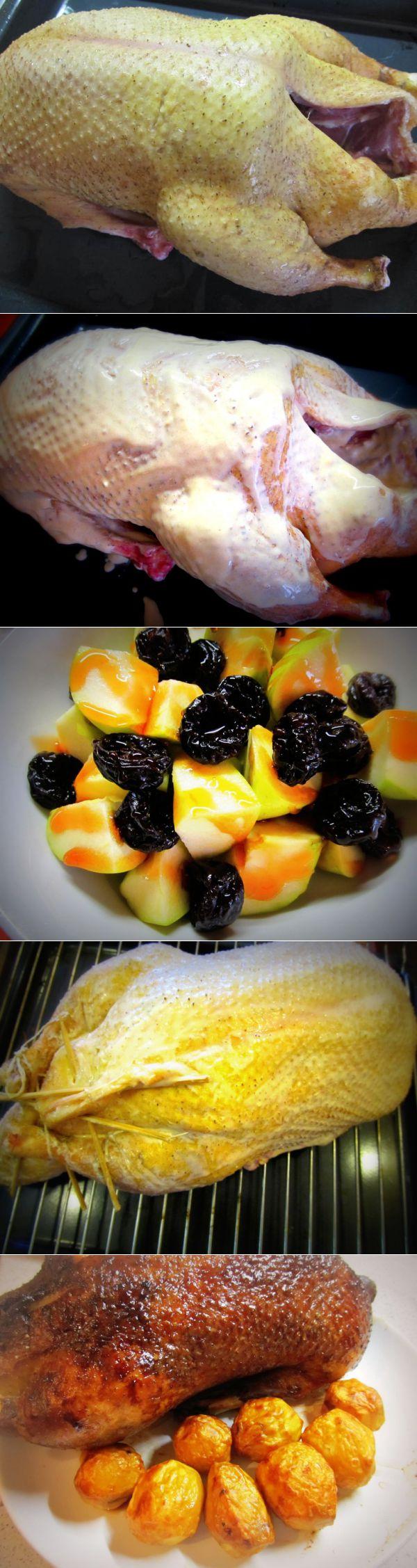 Гусь с яблоками запеченный в духовке рецепт пошагово