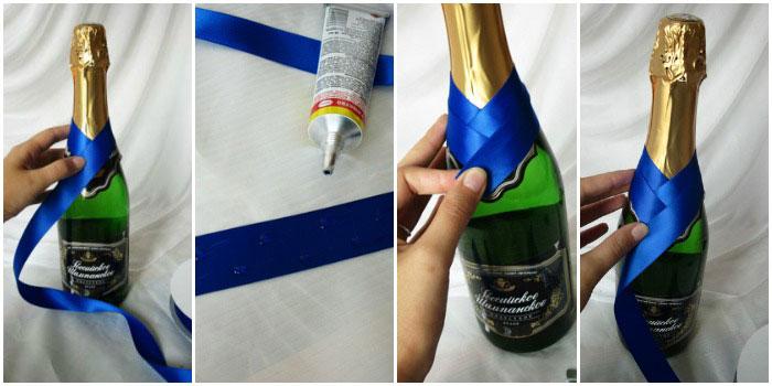 украшение бутылок шампанского на свадьбу своими руками: мастер класс при помощи ткани 1