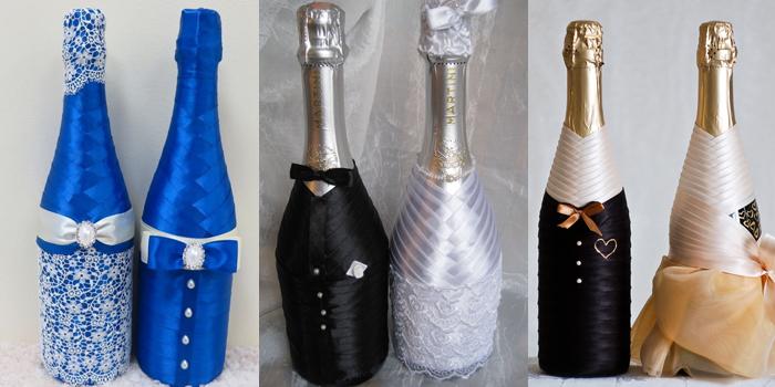 украшение бутылок шампанского на свадьбу своими руками: мастер класс при помощи бумаги