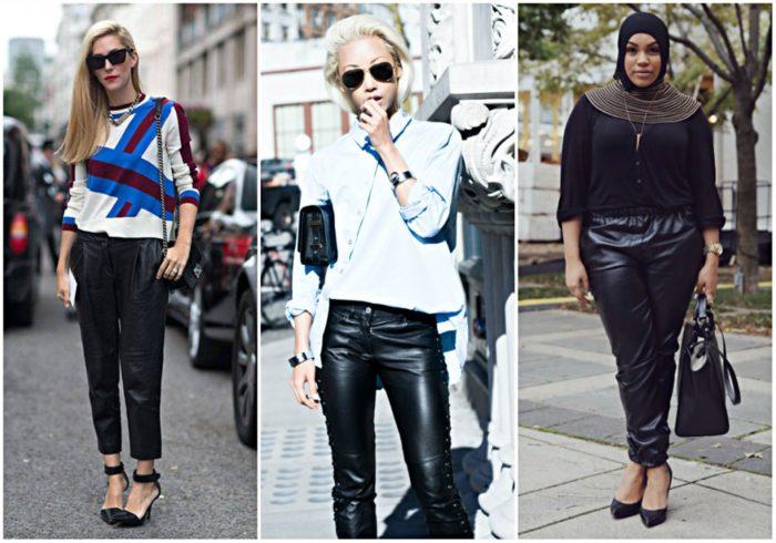 женские кожаные брюки осень-зима 2017-2018