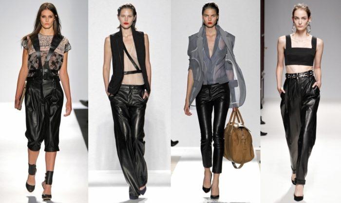 женские кожаные брюки осень-зима 2017-2018, модные тенденции на фото