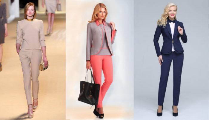 женские брючные костюмы 2018, модные тенденции и тренды на фото