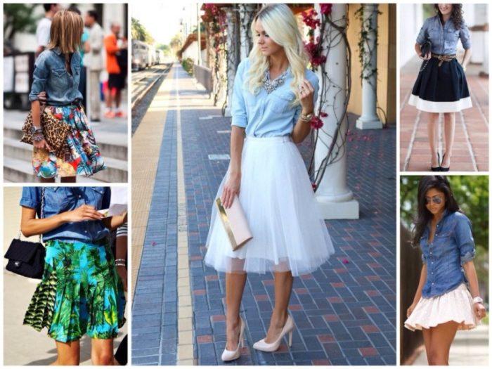 луки (образы) с юбками на фото