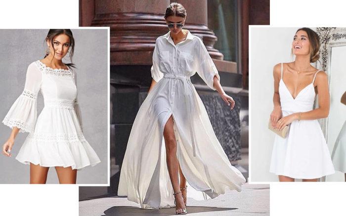 белое платье 2018, с чем носить