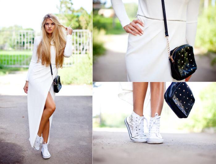 модные луки и образы с белым платьем 2018 на фото 2