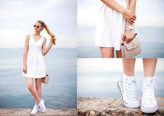 модные луки и образы с белым платьем 2018 на фото 1