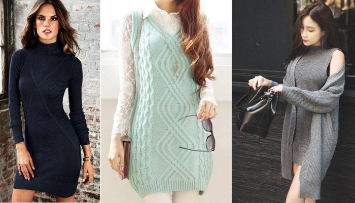 с чем носить модное вязаное платье в сезоне весна-лето 2018 фото 1