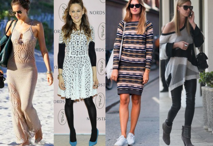 с чем носить модное вязаное платье в сезоне весна-лето 2018 фото 3
