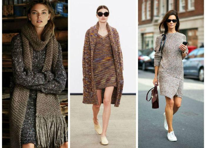 с чем носить модное вязаное платье в сезоне весна-лето 2018 фото 4