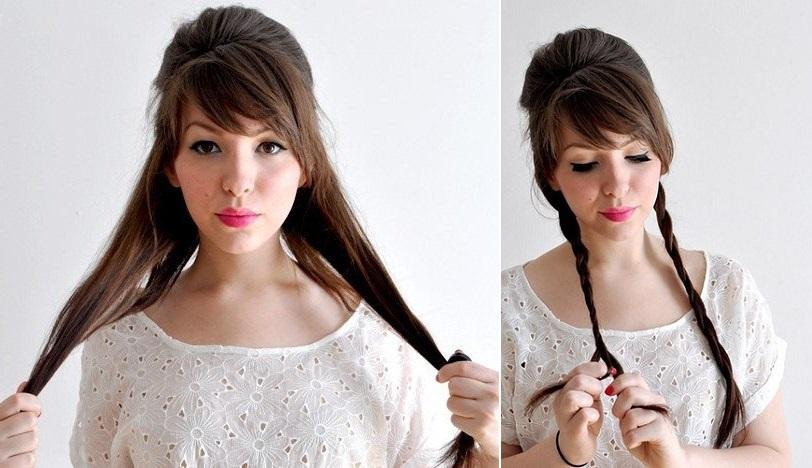 Как сделать причёску с длинной чёлкой 959