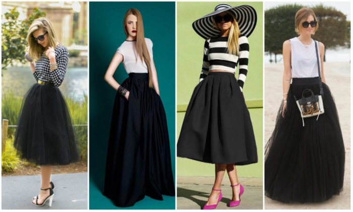 с чем носить длинную черную юбку фото 1