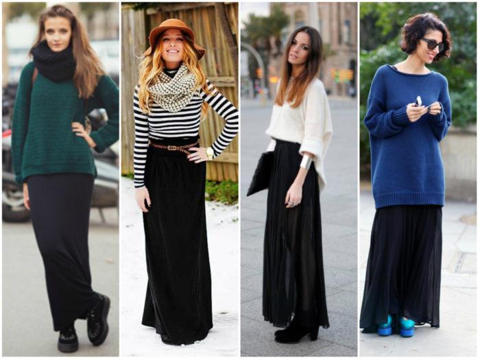 с чем носить длинную черную юбку фото 2