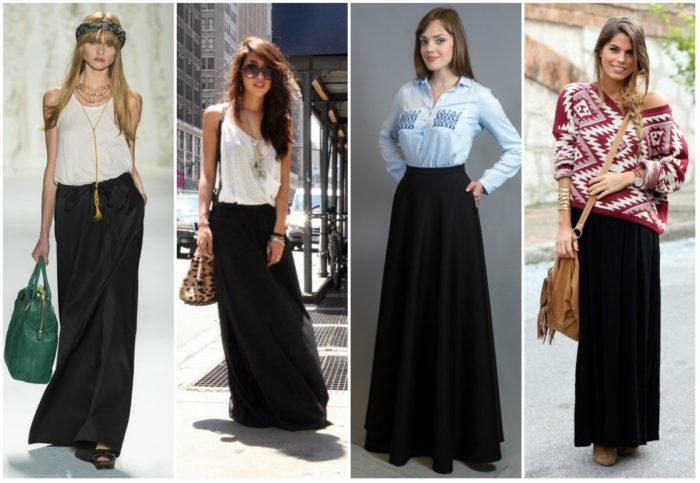 с чем носить длинную черную юбку фото 3