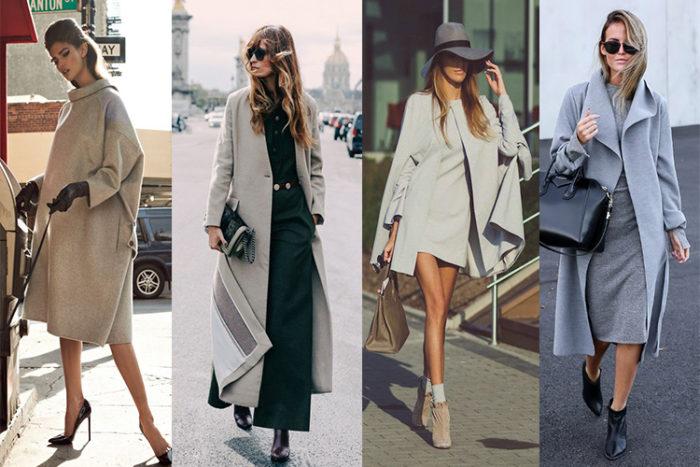 с чем носить модное пальто серого цвета образы на фото 1