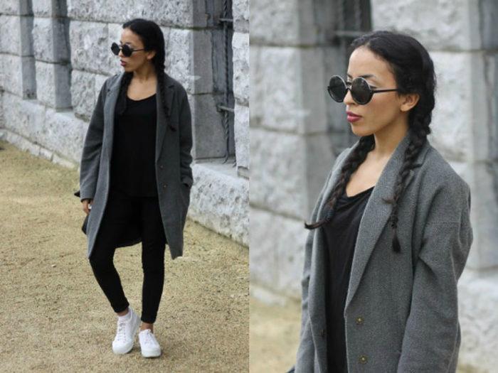 с чем носить модное пальто серого цвета образы на фото 2