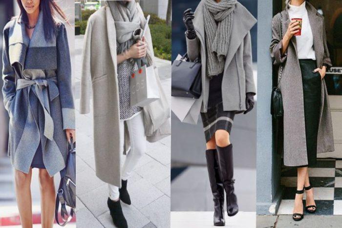 с чем носить модное пальто серого цвета образы на фото 3