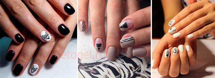маникюр на короткие ногти с геометрическим принтом фото 3