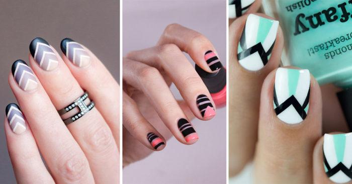 маникюр на короткие ногти с геометрическим принтом фото 4