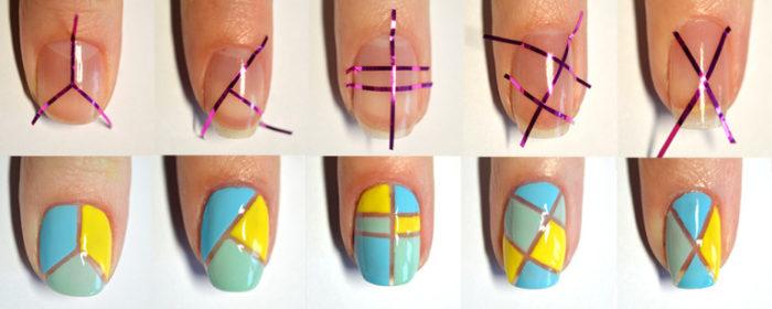маникюр на короткие ногти с геометрическим принтом фото 5