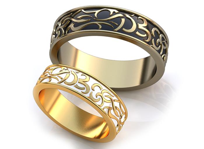 обручальные кольца с вензелями 2018, фото новинки 1