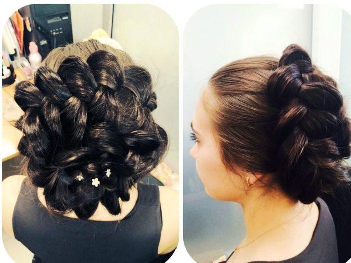 пучок на основе плетений и кос фото 4