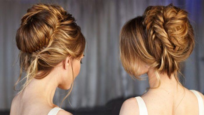 пучок на основе плетений и кос фото 1