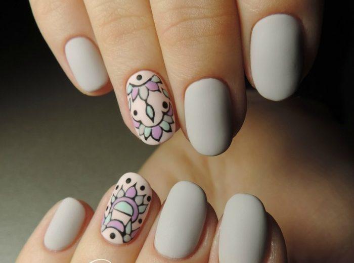 рисунки на матовых ногтях (основе) фото 5