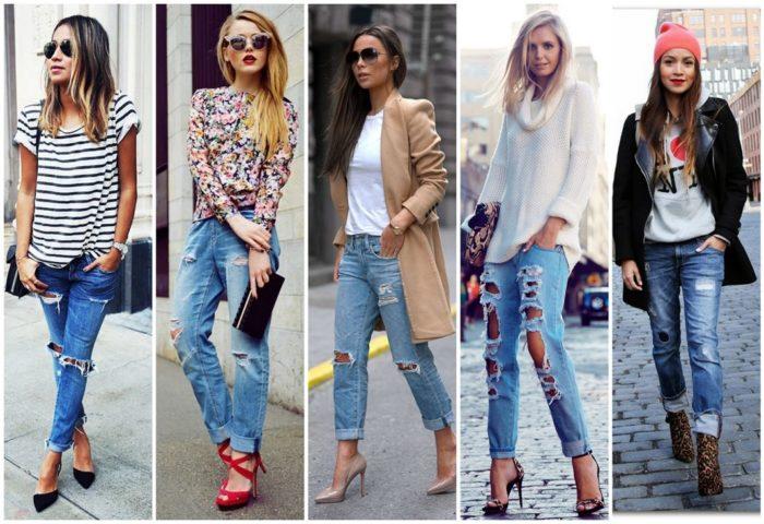 5228fc0cf42 С чем носить джинсы бойфренды фото модных образов весной-летом 2018 ...