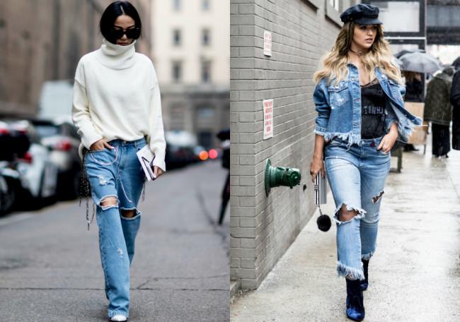 с чем носить модные джинсы весна-лето 2018 фото образы 3