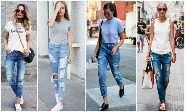 с чем носить модные джинсы весна-лето 2018 фото образы 4
