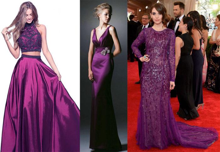 пурпурныеплатья на выпускной фото 1