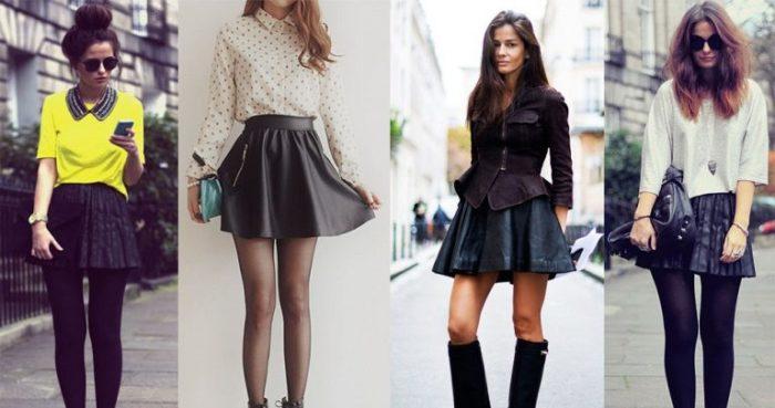 с чем носить модную юбку-скейтер фото 1