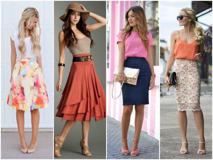 модные луки с летними юбками 2018 на фото 1